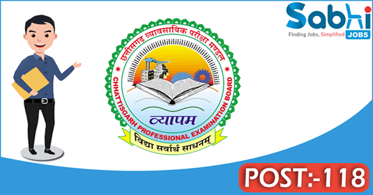 CG VYAPAM recruitment 118 Tracer, Assistant Cartographer
