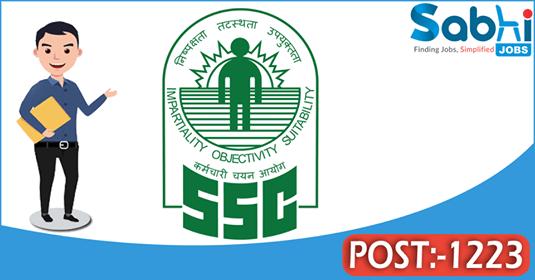 SSC recruitment 1223 Sub-Inspectors
