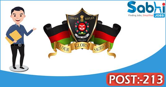 Assam Rifles recruitment 213 Soldier General Duty, Clerk