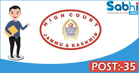 JK High Court recruitment 35 Senior Scale Stenographer, Junior Assistant