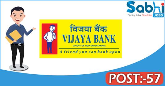 Vijaya Bank recruitment 57 Manager