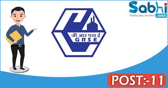 GRSE recruitment 2018 notification 11 Senior Manager