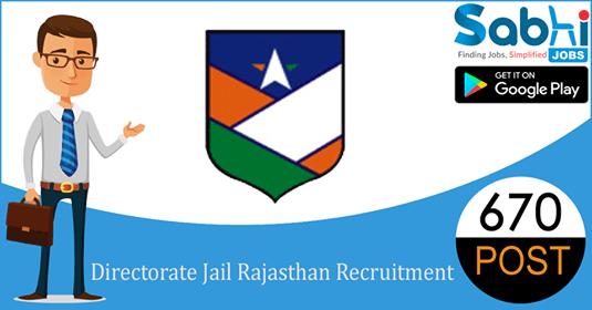 Directorate Jail Rajasthan recruitment 670 Jail Prahari
