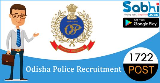 Odisha Police recruitment 1722 Civil Constable