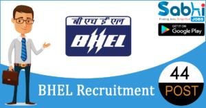 BHEL recruitment 44 Diploma Apprentice