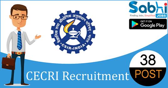 CECRI recruitment 2018-19 notification apply for 38 Apprenticeship Trainee