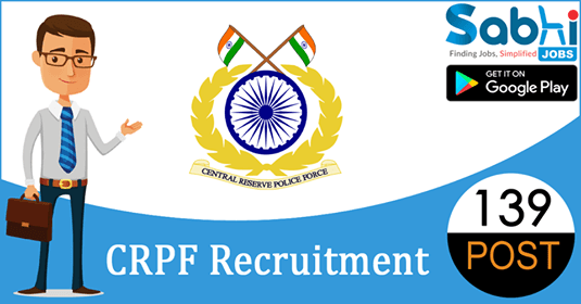 CRPF recruitment 139 Constable