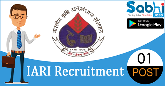 IARI recruitment 01 Junior Research Fellow