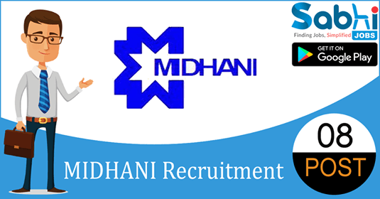 MIDHANI recruitment 2018-19 notification apply for 08 Assistant Manager, Manager