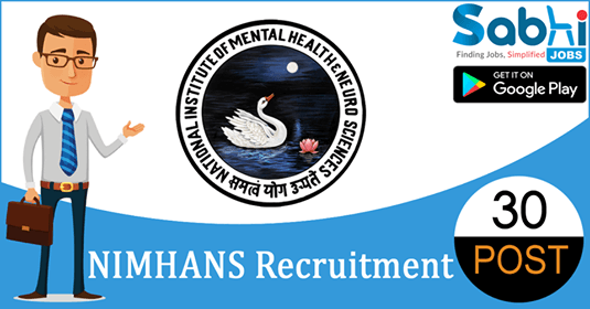NIMHANS recruitment 2018-19 notification apply for 30 Counsellors, Supervisor