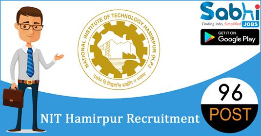 NIT Hamirpur recruitment 96 Assistant Professor, Associate Professor