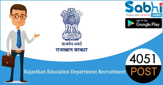 Rajasthan Education Department recruitment 4051 3rd Grade Teacher