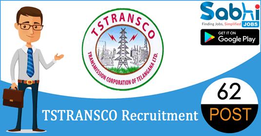 TSTRANSCO recruitment 62 Junior Personnel Officer
