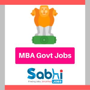 MBA Govt Jobs 2020