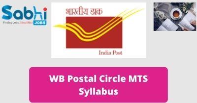 WB Postal Circle MTS Syllabus