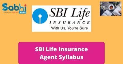 SBI Life Insurance Agent Syllabus