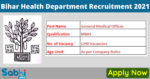 Bihar Health Department Recruitment 2021