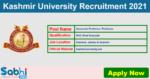 Kashmir University Recruitment 2021